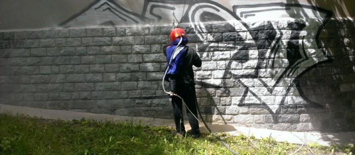 Odstranění graffity pískováním - granitem v Praze